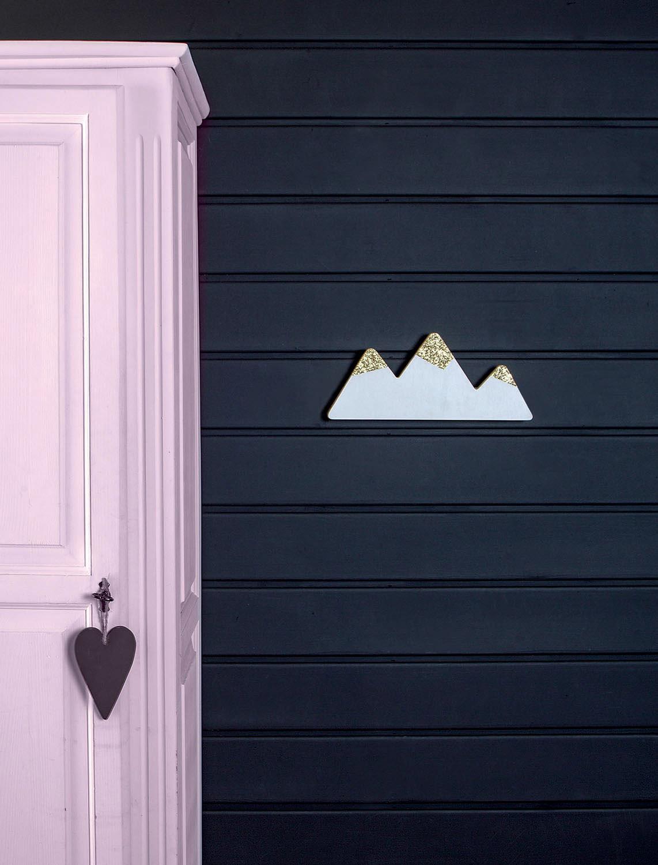 porte manteaux montagne – noir et bois brut – la cabane de bois